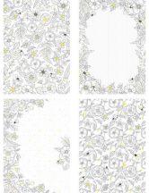 Színezhető csillámos meghívó, üdvözlőlap 4 db/szett, virág
