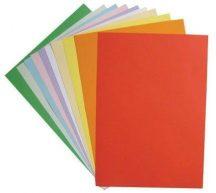 Színes papírok, fénymásolópapír A/4, 80g, 10 szín, 10 lap/cs