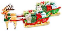 Adventi naptár készítő készlet, karton, rénszarvas szánnal, 55x12x16cm