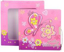 Lepkék napló kulccsal, 15x15 cm, rózsaszín
