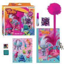 Trolls kreatív szett, 22x23cm (napló, matricák, toll, nyomda, flitterek, ragasztó)